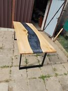 Black Epoxy Table Top Resin River Table Top Epoxy Dining Table Acacia Wood Decor
