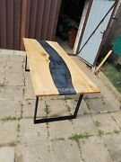 Black Epoxy Table Top Resin River Table Top Epoxy Dining Table Live Edge Decor