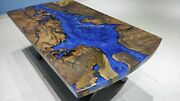 Epoxy Resin Table, Blue River Table Top With Epoxy Inlay Burl Wood, Resin Table