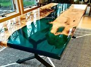 Green Deep Resin Table |living Room Acacia Epoxy Coffee Table|can Be Customized