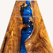 Blue Resin Epoxy Table Top Center Table Top Live Edge Epoxy Table Custom Table