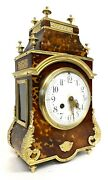 Beautiful Antique French Mantel Clock With Tortoise Shell Veneer And Ormolu
