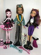 Lot Of 3 Monster High Sweet 1600 Doll Clawd, Clawdeen Wolf And Draculaura