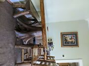 60 Solid Wood Tree Stump Dining Table With Chairs And Bench