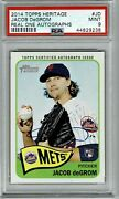 2014 Topps Heritage High Jacob Degrom Auto Autograph Psa 9 Mint Rc New York Mets