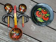 Decorative Russian Wood Black Lacquer Spoons And Plate