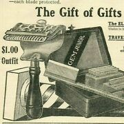 1909 Christmas Antique Safety Razor Gift Box Kit Barbershop Pole Paper Ad 5173