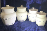 Longaberger Pottery Blue Woven Traditions 4 Peice Canister Set