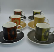 Wedgwood Susie Cooper Design Carnaby Daisy Demitasse Cups With Saucers /6