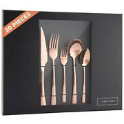 20 Piece Rose Gold Silverware Flatware Cutlery Set For 4 18/10 Stainless Steel