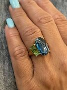 Marco Bicego Murano Blue Topaz And Green Tourmaline Ring 18k Yellow Gold Size 6