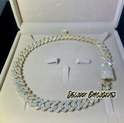 Iced 15mm Gold Plated 925 Sterling Silver Vvs Moissanite Miami Cuban Chain 22