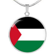 Palestine Flag Necklace Circle Pendant Stainless Steel Or 18k Gold 18-22