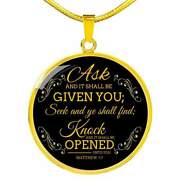 Ask And It Shall Be Given You Circle Necklace Stainless Steel Or 18k Gold 18-22