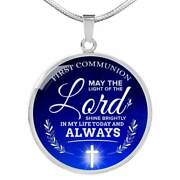 Today And Always First Communion Circle Necklace Stainless Steel Or 18k Gold 18-