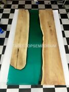 Epoxy Dine Table Top Green Resin Handmade River Counter Table Top Furniture Arts
