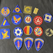 Lot Of 17 Original Wwii Us Army And Air Corp Patches Shaef Green Back