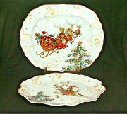 2 Williams Sonoma Twas The Night Before Christmas Sleigh And Deer Serving Platters