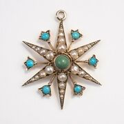 9ct Gold Victorian Snowflake Pendant Turquoise And Pearls Full Hallmarks - Rare