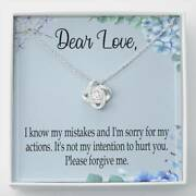 Apology Gift For Her No Intention Love Knot Pendant Necklace Forgive Me Keepsake