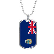 Saint Helena Ascension And Tristan Da Cunha Flag Necklace Stainless Steel Or 18k
