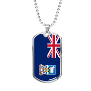 Falkland Island Flag Necklace Stainless Steel Or 18k Gold Dog Tag 24 Chain