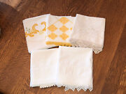 Vintage Lot 5 Single Embroidered Crocheted Pillowcases