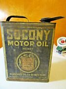 Early Rare 1 Gal Socony Motor Oil Tin Litho Can Standard Oil Co Of New York