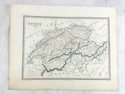 1846 Antique Map Of Switzerland Swiss Cantons Rare Hand Coloured Engraving