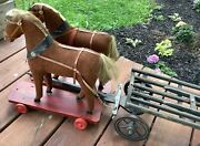 Extraordinary Large Scale Antique German Pull Toy Horse Team And Wagon Excellent