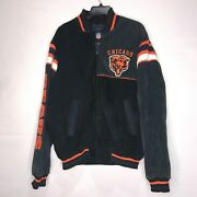 Vintage Nfl Giii Menandrsquos Jacket Sz L Chicago Bears Black And Blue Suede Leather
