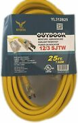 Bybon Indoor Outdoor Extension Cord Lighted Plug Sjtw 12/3 Awg Heavy Duty 25ft