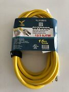 Bybon Outdoor Extension Cord Lighted Plug Sjtw 12/3 Awg Heavy Duty 15ft