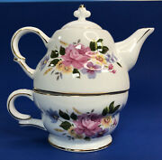 Nantucket Porcelain Individual Teapot And Cup For One Pink Roses 7 Collectible