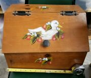 Vintage Homemade Wooden Bread Box Tole Painted Ducks And Strawberries Farmhouse