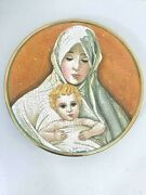 Mother Child Plate By V Tiziano 1973 Decor Hand Etched Painted Limited Italy 8.5
