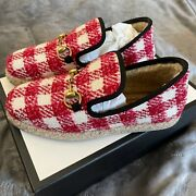Womens Tweed Horsebit Loafers Red And White G12709145 Sold Out Size 37