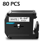 80pk M-k231 M231 Black On White Label Tape For Brother P-touch Pt-80 M95 1/2