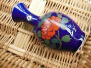Vintage Oriental Blue Glass Signed With Roses And Gilt 5 1/2 Asian Bud Vase