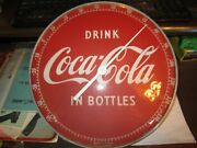 Vintage 1950and039s Coca-cola Red Face 12 Round Thermometer 495a Coke In Bottles Euc