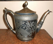 Antique 1880s Victorian Aesthetic Movement Silverplate Teapot Roger Smith And Co