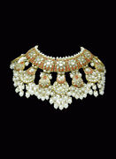 23k Gold And Diamond Polki Coral Choker Wedding Antqiue Beads Necklace Jewelry
