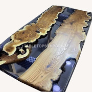 Clear Resin River Dining Center Wooden Working Dining Top Table Interior Decor
