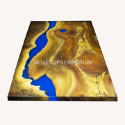 Acacia Handmade Dining Side Epoxy Resin River Table Collectible Royal Furniture