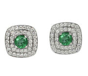 1.20cts Natural Round Diamond Emerald 14k Solid White Gold Stud Earring