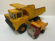 Lot Of Two Vintage Metal Toy Dump Trucks Nylint Marx 1960s / 70s Pre-loved