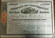 Evansville And Crawfordsville Railroad Stock Certificate 1870 With Old Tax Stamp