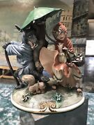 Vintage Capodimonte Wolf And Red Riding Hood Large Heavy Figurine Rare