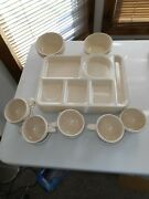 22 Vintage Arrowhead Beige Cafeteria Melmac - 8 Lunch Trays - 9 Cups - 5 Bowls