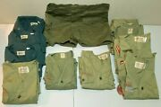Vintage Boy Scout Uniform Shirts And Patches - Lot Of 10